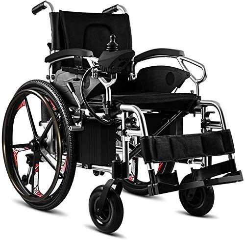 QUETAZHI Sencillo sillón de Ruedas Mayor, Plegable portátil Silla de Ruedas eléctrica Sencilla de Edad Avanzada batería de Litio QU523