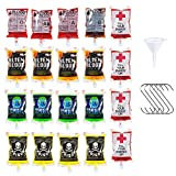 MAIAGO 20 Pack Halloween Blood Bags, 8.5 FL Oz Reusable Blood Cups Containers with 1 Funnel & 5 Stainless Steel Hooks for Drinks, Nurse Day, Halloween Zombie Vampire Party Favors