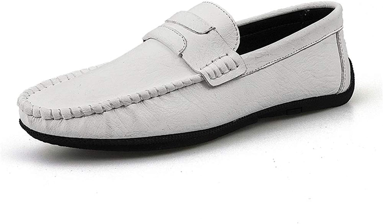 Easy Go Shopping Driving Loafer für Herren Low Top Stiefel Mokassins Slip On OX Leder weiche Sohle atmungsaktiv Faule Person Flache Ferse leichte Schuhe,Grille Schuhe