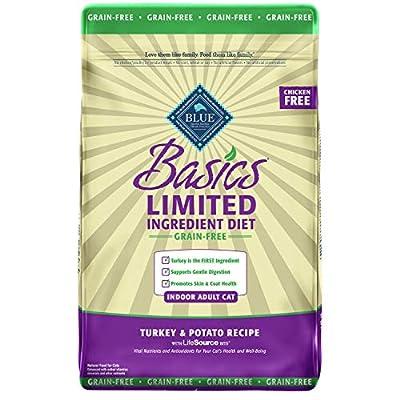 Blue Buffalo Basics Limited Ingredient Diet Grain Free, Natural Indoor Adult Dry Cat Food, Turkey & Potato 11-lb, Model:BLU00702