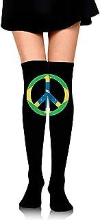 Jesse Tobias, Brail Flag Peace Symbol Womens Crochet Thigh High Calcetines sobre la rodilla Medias altas