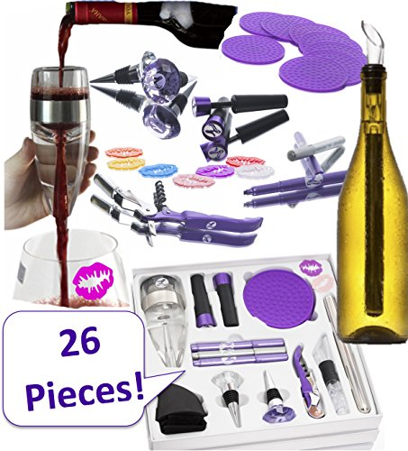 WINE ACCESSORIES SET FOR WOMEN. 26 Premium, Fun, Useful Bar Tools For Any Woman Who Loves Wine. Over $100 of Wine Accessories. Aerator, Chiller Rod, Lip Charms, Stoppers, Opener, Coasters, Markers