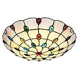 KBEST 30cm Estilo Tiffany Vidrio Plafón,E27 Piedras Preciosas De Colores Foco para Techo,2-Luces Vistoso Decoración Lámpara De Techo para Dormitorio Pasillo Comedor