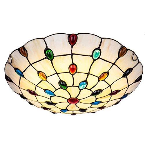 KBEST 50cm Estilo Tiffany Vidrio Plafón,E27 Piedras Preciosas De Colores Foco para Techo,4-Luces Vistoso Decoración Lámpara De Techo para Dormitorio Pasillo Comedor