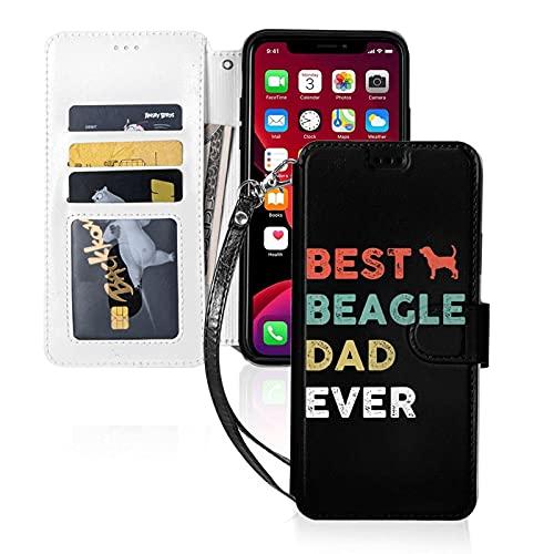 LINGF Custodia per telefono,custodia vintage migliore beagle papà mai per iPhone 11 Pro max Custodia carina per donna uomo portafoglio in pelle con custodia protettiva cinturino