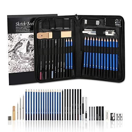 AGPTEK 41tlg Zeichenset - Bleistifte Skizzierstifte Set mit einem 60 Blatt Zeichenblock, 5H-8B Künstlerset im Reißverschluss Etui, Zeichnung Zubehör Set für Künstler, Anfänger, Schüler -'MEHRWEG'