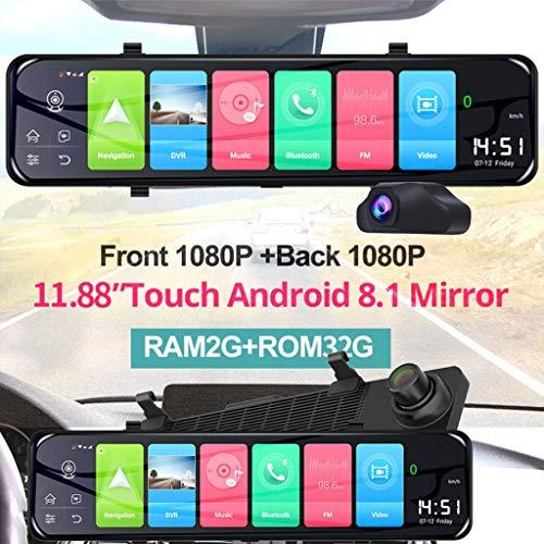 Lukame Telecamera Dash Per Specchietto Retrovisore 1080P Per Navigazione Gps Per Auto Da 12,1 Pollici Android 8.1 Da 4G