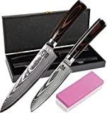 Zeuß 2er Set Küchenmesser (32 cm und 24 cm) Damastmesser - 67 Schichten - Damaststahl - Profimesser - Santoku - Kochmesser - Chefmesser - Allzweckmesser