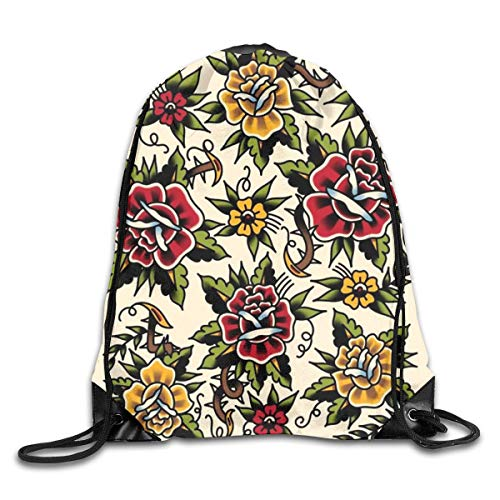 Lawenp Plegable Flower Tattoo Drawstring Bag, Sports Cinch Sacks String Drawstring Backpack for Picnic Gym Sport Beach Yoga