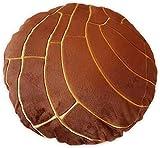 Concha Bread Pillow - Mexican Pan Dulce Pillow - Cute Home Decor - Soft Micro Mink with Down Cotton Filling - Decorative Throw Pillow, Back Cushion, Fun Minimalist Decor [Chocolate, 15.7'']