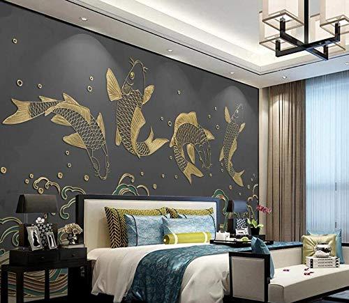 muurschildering behang woonkamer slaapkamer muurschildering nieuwe Chinese stijl springen Dragon poort Wave patroon gouden reliëf lijnen achtergrond muurschildering-3D Mural_350*245cm