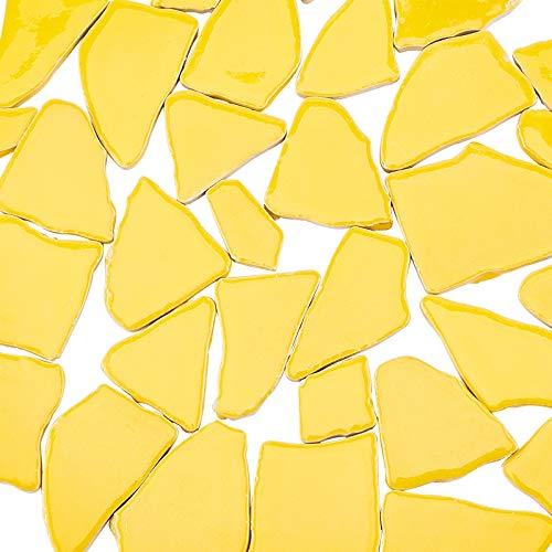 PandaHall Azulejos de Mosaico Irregulares Amarillos para Manualidades, Azulejos de Mosaico de cerámica a Granel, Piezas para Marcos de Fotos, Platos, macetas, jarrones, Tazas para Hacer mosaicos