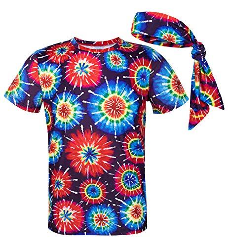 COSAVOROCK Disfraz de Hippie años 60s 70s Hombre Camiseta con Diadema