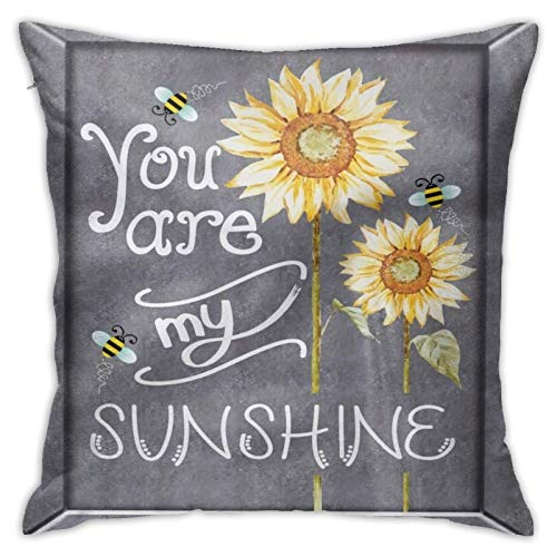 GULTMEE You are My Sunshine Throw Pillow Cushion Cover,You are My Sunshine Words on Blackboard Bees Sunflowers Vintage Image, Decorative Square Accent Pillow Case, 18' X 18',Yellow Grey