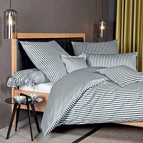 Janine Design Streifen-Bettwäsche modern Classic anthrazit 1 Bettbezug 135 x 200 cm + 1 Kissenbezug 80 x 80 cm