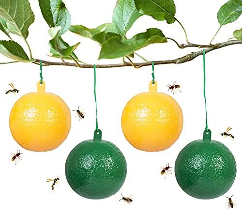 Stingmon 4 PCS Trampa para Avispas, trampas para Moscas de la Fruta, Bolas de Trampa para Abejas suspendidas, atraen Avispas, Insectos, Moscas y Mosquitos según el Principio del Espectro