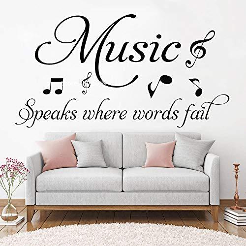 Ajcwhml Citas de música Hablar Fracaso Etiqueta de la Pared Sala de Estar Pegatinas Ventilador de Vinilo Notas Musicales Tema decoración del hogar Arte Mural 79cm x 42cm
