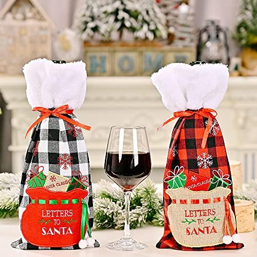 2 piezas Buffalo Plaid botella de vino cubierta de Navidad de piel sintética suéter botella de vino titular bolsas para Navidad vajilla cena fiesta decoraciones