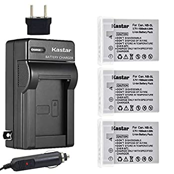 Kastar NB-5L Battery  3-Pack  and Charger Kit for Canon CB-2LXE PowerShot S100 S110 SD700 SD790 SD800 SD850 SD870 SD880 SD890 SD900 SD950 SD970 SD990 SX200 is SX210 is SX220 is SX230HS