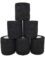 Edostree 粘着包帯 自着性伸縮包帯 弾力包帯 包帯 テープ 5巻入り 5.0cm*4.5m 6点セットBD-02