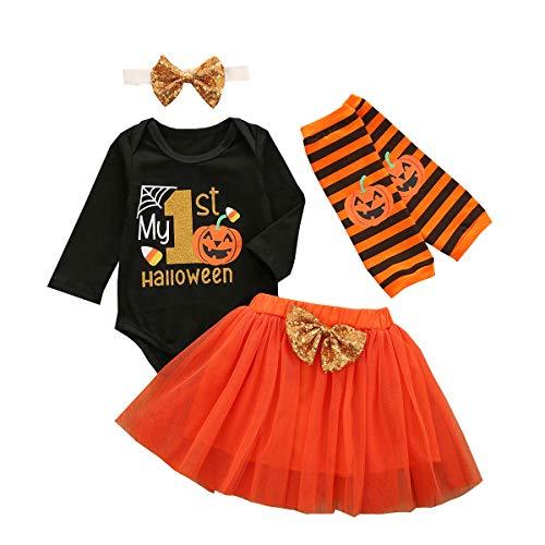 DaMohony Baby Mädchen Halloween Kleidung Anzug Strampler + Tutu Rock + Stirnband + Beinwärmer für 0–24 Monate Gr. 90 cm, Schwarz + Orange