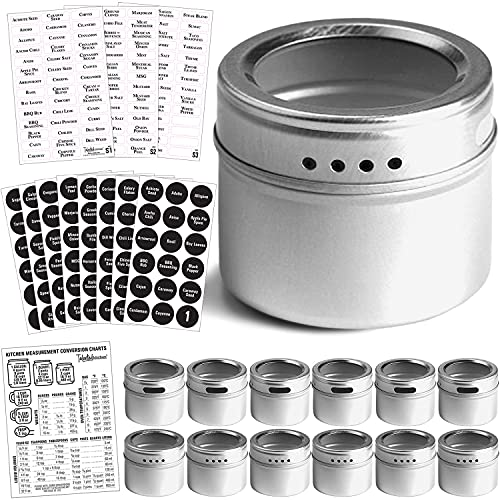 Talented Kitchen 12 Magnetic Spice Tins and 2 Types of Spice Labels. 12 Storage Spice Containers,...