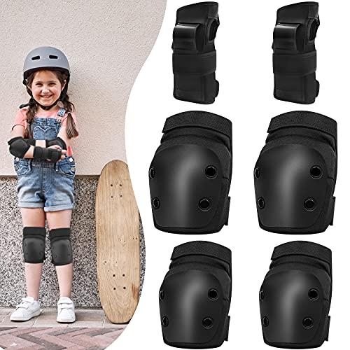VPOW Knieschoner Kinder, Schutzausrüstung Set, 6 in 1 Profi Schoner Inliner Kinder, Ellenbogenschützer Handgelenkschoner, Protektoren Set für Fahrrad Rollschuhe Skateboard Inline Skate Roller