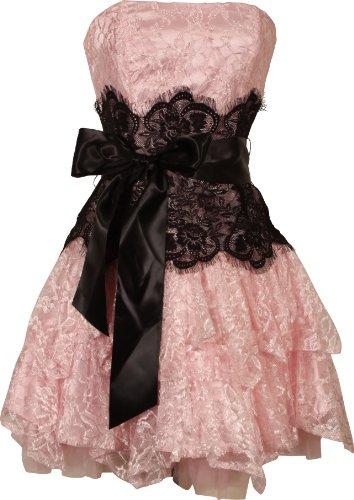 Big Sale Strapless Bustier Contrast Lace and Crinoline Ruffle Prom Mini Dress Junior Plus Size, 3X, Pink/Black
