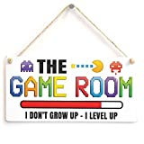 The Game Room I Don't Grow UP - I Level UP - Gaming Room Sign Great Small Gift Idea for Gamers
