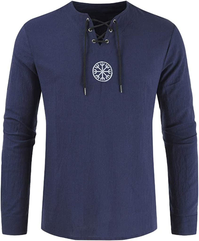 Men's Fashion Cotton Linen Shirt Long Sleeve Solid Color Beach Henley Drawsting Shirts Tops Blouses Navy