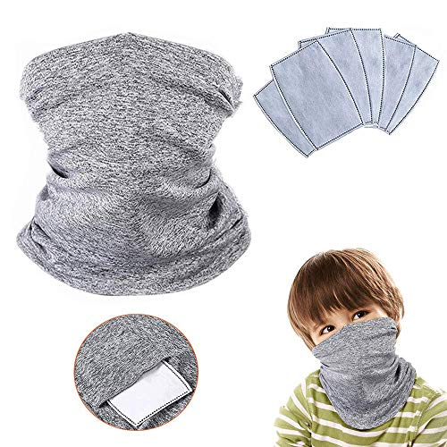 2 Pack Kids Face Cover with 6Pcs Filters, Multifunctional Neck Gaiter Scarf Balaclava Headwear Headbands Bandana for Sun UV, Cycling, Outdoors
