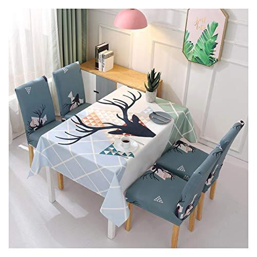 Tischdecke Rechteckige wasserdichte Fleckschutz Baumwolle und Leinen Tischtuch Hauptdekoration Küche Esszimmer Party Tischdecke Stuhl Tuch Set Geweih 2 140 * 210