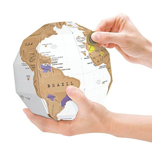 KeySmart Bastel Globus aus Pappe mit Ländern zum Freirubbeln