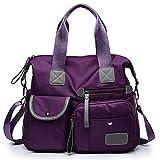 BAGZY Bolso Para Bandolera Desmontable Multi-bolsillos Comodo Gran Capacidad Mujer Grande Nylon Bolso de Mano Diseño de Bandolera Bolso de Hombro Bolso Shopper Casual Bolso de señora (Púrpura)