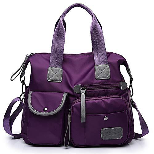 BAGZY Femme Sacs à Main en Nylon Étanche Sac à Bandoulière Hobo Messenger Bag Sac École Fille Cartable Sacs De Voyage Top Handle Violet