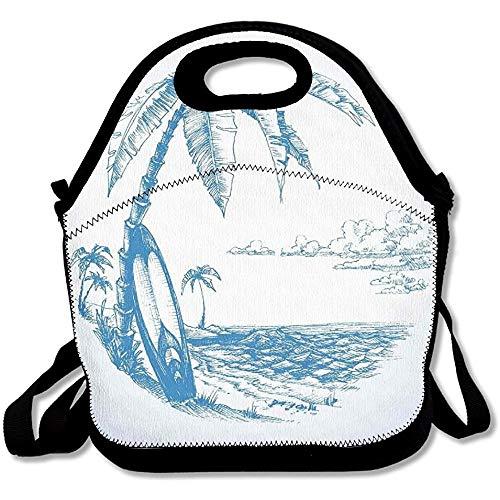 N / A Ilustración de boceto contemporáneo de la Playa de Hawai con Tabla de Surf Palmera y Bolsa de Almuerzo de Agua del océano Totalizador para el Trabajo Escolar al Aire Libre