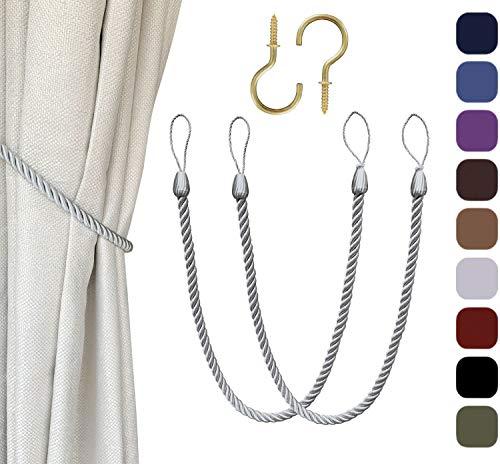 Melanovo Curtain Tiebacks with Hooks, Hand Knitting Rope Tie Backs, Decorative Drapery Holdbacks (Silver,2Pack)