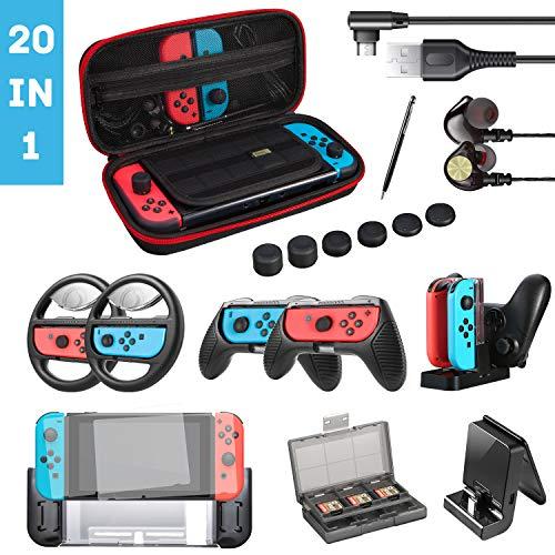 20 in 1 Nintendo Switch Zubehör Set, Geek Pack für Nintendo Switch, Zubehörpaket für Switch: Tragtasche, Displayschutzhülle, Stahlfolie,Lenkrad, Griffe, Ständer, USB Kabel usw. für Joycon.