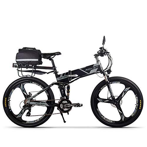 Unbekannt Rich Bit Bicicletta elettrica RT860 36 V 12,8 A Batteria al Litio Pieghevole MTB Mountain Bike E Bike 26 Pollici Shimano 21 Speed Intelligente Bicicletta elettrica, Grigio