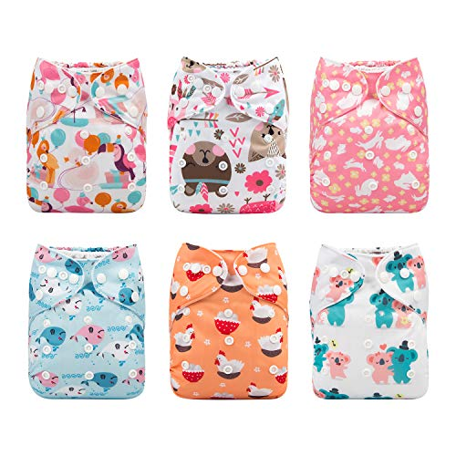 Babygoal Baby Cloth Diapers, Adjustable Reusable Pocket Diaper Pail 6pcs Diapers + 6pcs Microfiber Inserts+4pcs Charcoal Bamboo Inserts ,Girl Color 6FG23