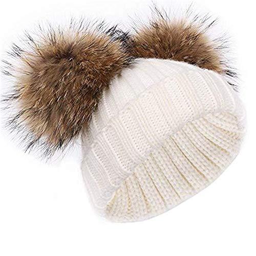feifanshop Damen Warmem Winter Mütze Beanie Strickmütze mit Fellbommel Fell-Bommel Kunstfell Winter-Mütze, Bommelmütze (weiß)