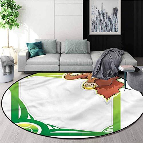 Best Bargain RUGSMAT Zodiac Taurus Modern Flannel Microfiber Non-Slip Machine Round Area Rug,Cartoon...
