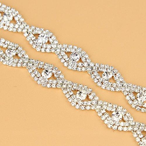 De.De. 1 Yard Elegant Crystal Clear Glass Rhinestone Applique Bridal Trim/Chain Silver