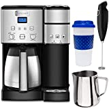 Cuisinart SS-20 Coffee Center 10-Cup Thermal Single-Serve Brewer Coffeemaker Silver (SS-20) Bundle with Stainless Steel Milk Frothing Pitcher, Milk Frother Handheld Electric Foam Maker & Reusable To Go Mug
