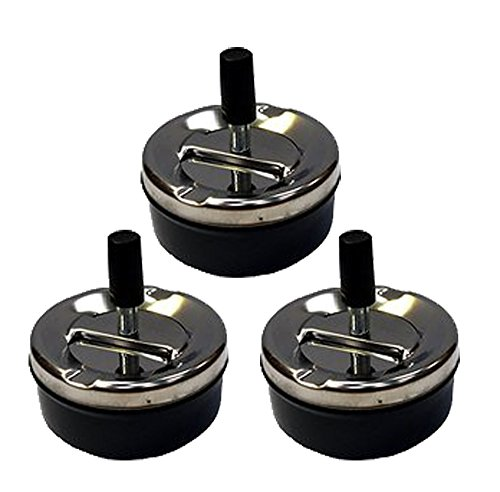 "Set of 3 All Metal Round Push Down Black Ashtray 3.6"" Diameter"