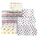 PLULON 6 fogli Carta da regalo Compleanno, Multicolor colorato Carta da imballaggio per donne uomini, compleanno o festa (19.7 inch * 27.5 inch)