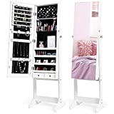 Nicetree Jewelry Cabinet with Full-Length Mirror, Standing Lockable Jewelry Armoire Organi...