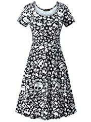 Fabric : 100% Polyester This women halloween dresses have great sense of touch,lightweight, skin-touch, breathable, sexy,comfy,super soft Features: midi knee length casual dress,short sleeves, halloween costume printed dress,fall dresses for women. A...