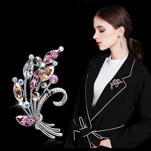 Women's Kleurrijke Kristallen Bouquet Broche Pin, Dames Romantisch Bloemen Broches, Trui Jurk Coat Shirt Sieraden Accessoires, Unique Gifts for Her