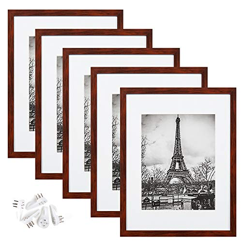 upsimples 11x14 Picture Frame Set of 5,Display Pictures 8x10 with Mat or 11x14 Without Mat,Wall Gallery Photo Frames,Red Brown